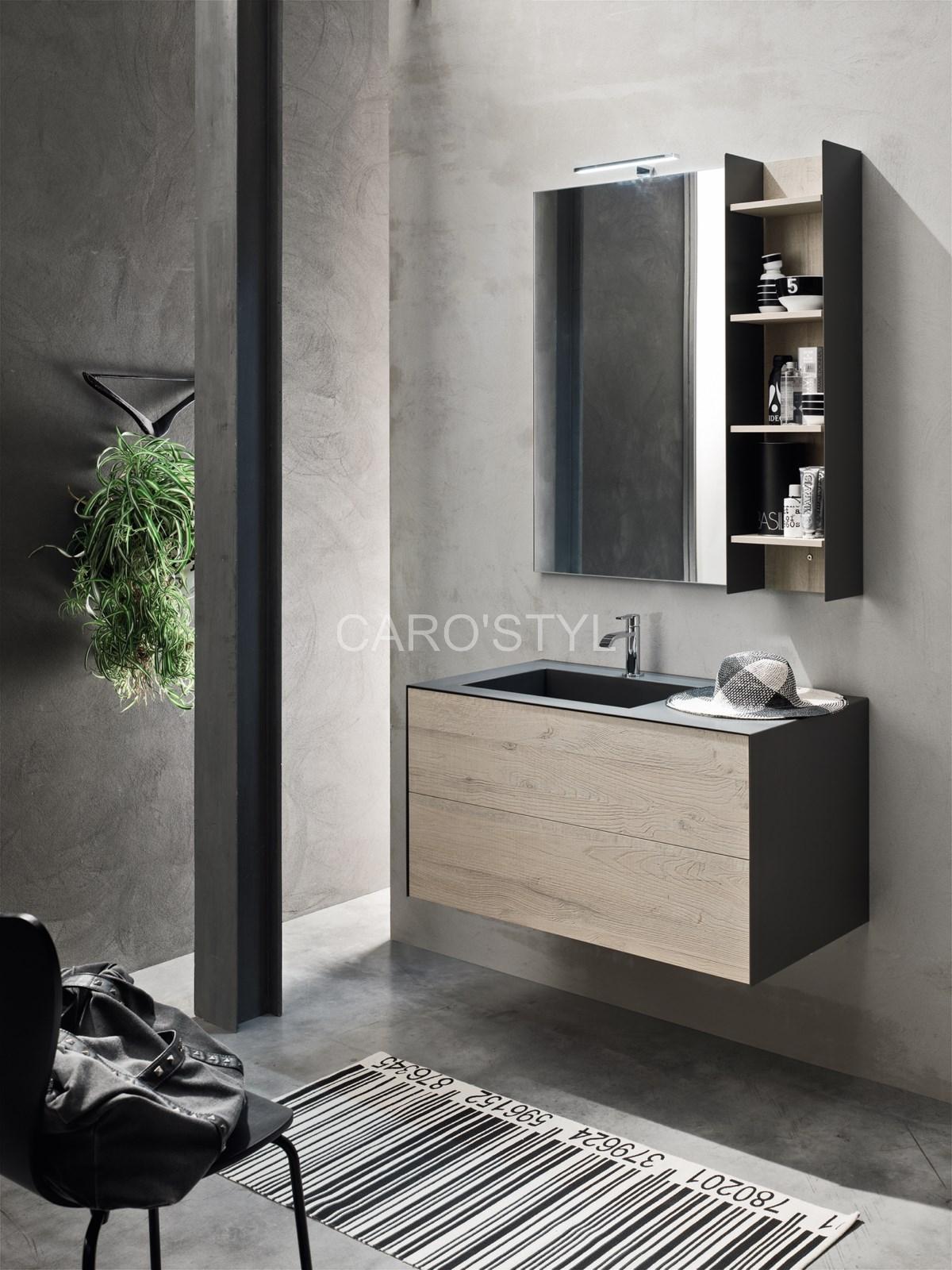 Meuble de salle de bains monobloc suspendu, sur mesure et